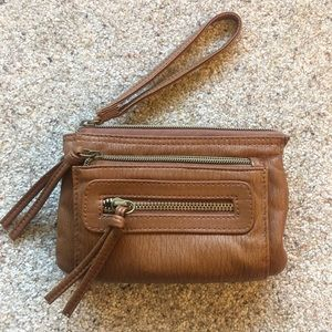 Small Brown Wristlet with Removable Straps